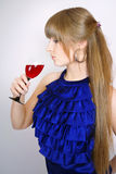 Portrait of beautiful women with glass wine Royalty Free Stock Images