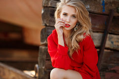 Portrait of beautiful women in old dock royalty free stock photography