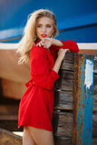 Portrait of beautiful women in old dock Royalty Free Stock Image