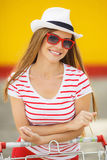 Portrait of beautiful women in town during summer Stock Photo