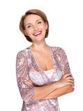 Portrait of a beautiful young adult white happy woman Royalty Free Stock Photo