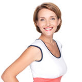 Portrait of a beautiful young adult white happy woman. Over white background Royalty Free Stock Photo