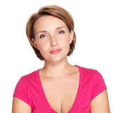Portrait of a beautiful young adult white serious woman Stock Photos