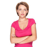 Portrait of a beautiful young adult white serious woman Stock Photography