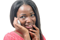 Portrait of a beautiful young african woman talking on cell phon Stock Image