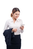 Portrait of Beautiful Young Asian Business woman using mobile ph stock photo