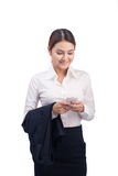 Portrait of Beautiful Young Asian Business woman using mobile ph Royalty Free Stock Photo