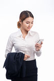 Portrait of Beautiful Young Asian Business woman using mobile ph Royalty Free Stock Images