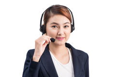 Portrait of beautiful young asian female customer service repres Royalty Free Stock Photo