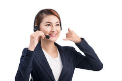Portrait of beautiful young asian female customer service repres Stock Image