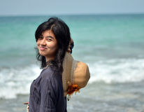 Portrait of asian woman on beach Stock Photography
