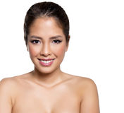 Portrait of beautiful young asian woman with clear skin isolated Stock Photos