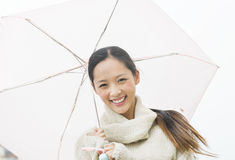 Portrait Of Beautiful Young Asian Woman Holding Umbrella Royalty Free Stock Photos