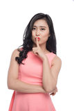 Portrait of beautiful young asian woman with index finger at lip Stock Images