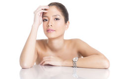 Portrait of beautiful young asian womanbeautiful young asian woman wearing a wrist wat Stock Images