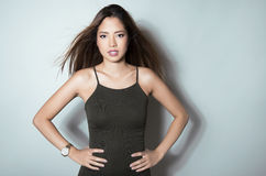 Portrait of beautiful young asian womanbeautiful young asian woman wearing a wrist wat Stock Photography