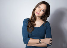 Portrait of beautiful young asian womanbeautiful young asian woman wearing a wrist wat Royalty Free Stock Photo