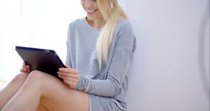 Portrait of beautiful young blond girl stock video