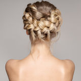 Portrait Of A Beautiful Young Blond Woman With Braid Crown Hairs. Portrait Of Beautiful Young Blond Woman With Braid Crown Hairstyle Royalty Free Stock Photo