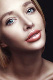 Portrait of beautiful young blond woman with clean face Stock Photography