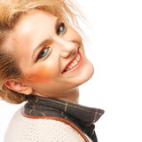Portrait of beautiful young blond woman with clean face Stock Image