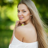 Portrait of beautiful young blond woman with clean face - outdoo Stock Photography