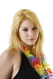 Portrait of beautiful young blond woman with flower Royalty Free Stock Images