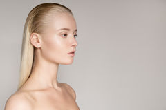 Portrait Of A Beautiful Young Blond Woman With Long Straight Hai Stock Photos