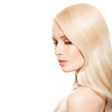 Portrait Of Beautiful Young Blond Woman With Long Wavy Hair. Isolated Stock Image