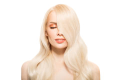 Portrait Of Beautiful Young Blond Woman With Long Wavy Hair. Royalty Free Stock Images