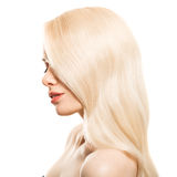 Portrait Of Beautiful Young Blond Woman With Long Wavy Hair. Isolated Stock Photography