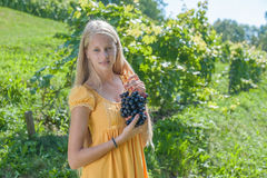Portrait of a beautiful young blonde with a bunch of grapes Stock Photos