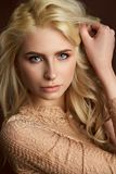 Portrait of beautiful young blonde girl Fashion photo royalty free stock photos