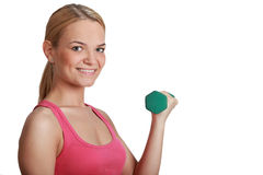 Young Woman with Dumbbell Stock Images