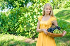 Portrait of a beautiful young blonde holding bowl of grapes Royalty Free Stock Images