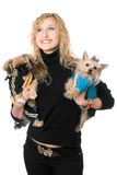 Portrait of beautiful young blonde with two dogs Stock Photos