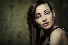 Portrait of beautiful young blonde woman with creative braids ha Royalty Free Stock Photos