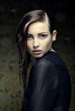 Portrait of beautiful young blonde woman with creative braids ha Royalty Free Stock Image
