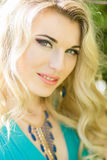 Portrait of a beautiful young blonde woman with long hair Royalty Free Stock Images