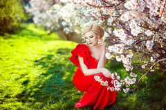 Portrait of a beautiful young blonde woman with long hair in red dress smiling on the background of pink cherry blossoms royalty free stock image