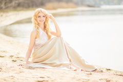 Portrait of a beautiful young blonde woman Stock Images