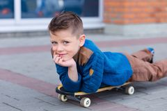 Portrait of a beautiful young boy outdoors Royalty Free Stock Photo