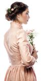 Portrait of beautiful young bride in pink dress Stock Photos