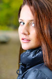 Portrait of a beautiful young brown haired woman Stock Images