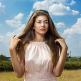 Portrait of a beautiful young brown-haired woman Royalty Free Stock Image