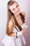 Portrait of beautiful young brown-haired woman Royalty Free Stock Photography