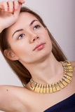 Portrait of beautiful young brown-haired woman Stock Photos