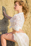 Portrait of a beautiful young brown-haired woman. In nature in a lace dress Royalty Free Stock Photo