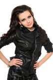 Portrait of beautiful young brunette in black clothes Royalty Free Stock Images