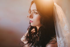 Portrait of a beautiful young brunette bride, smiling, boudoir, fees hairstyle, make-up, wedding, lifestyle Royalty Free Stock Photos
